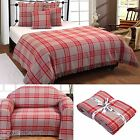 Grey Red Cotton Tartan Throws Over Blanket Extra Large Bedspread Sofa Covers