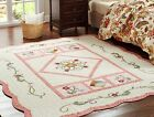 French Country Quilted Cotton Floral Patterned Floor Rug Area Carpet