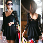 Brand New Black Lace Long Sleeve Mini Clubbing Cocktail Party Dress Size S L
