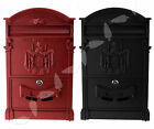 Vintage Style Letter Post Box Black/Red Aluminium Lockable Wall Mounted Box UK
