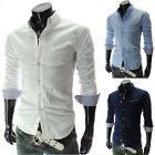 SALE Mens Luxury Casual Slim Fit Stylish Dress Shirts Long sleeve Formal Shirts