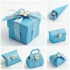 Luxury DIY Wedding Christening Baby Shower Favour Gift Boxes Blue Silk Range