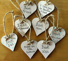 Wooden Heart Shabby Chic Plaque Personalised Gift Wedding Favour Present Token