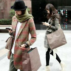 Retro College Style Womens Girls Plaid Checks Wool Blend Lapel Suits Jacket Coat