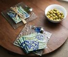 MUD PIE  NAUTICAL GLASS FISH CUTTING CHEESE BOARD COCKTAIL NAPKINS OCEAN COLORS