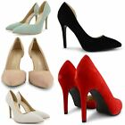 NEW LADIES HIGH STILETTO HEEL POINT TOE COURT SHOES WOMENS CUTAWAY SIDE SANDALS