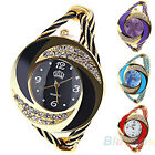 WOMEN ELEGANT FUNKY COLORFUL ROUND BANGLE CUFF CRYSTAL DECORATED BRACELET WATCH