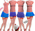 LADIES GIRLS WALLY RED AND WHITE STRIPED T-SHIRT HAT GLASSES SKIRTS SOCKS VEST