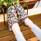 Free P&P Womens Flower Printing Shoes Lace Up Ballet Flats Big Size US 4.5-US 11