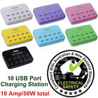 10 USB Port Charging Station/Charger 5 &12W, 1 &2.4A, World Wide Use AC 100-240V