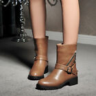 Women Trendy Buckle Strap Metal Decor Round Toe Cuban Heel Ankle Boots Plus Size
