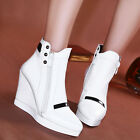Womens Wedge High Heel Side Zipper Ankle Boots High Top Casual Sneakers Shoes Sz