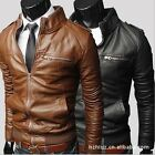 Mens High Collar Slim Zip PU Leather Motorcycle Jacket Coat 3 Colors 5 Sizes