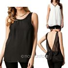 Fashion Sexy Casual Womens Backless Blouse T-shirt Vest Chiffon Tank Tops S-XXL