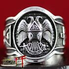 925 Sterling Silver Antique Knights Templar Masonic Ring Eagle 32 Degree