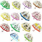 Bugzz Kids Childrens Clear PVC Colourful Dome Design Umbrella Brolly New