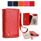 New Slim Crocodile PU Leather Wrist-let Cover Wallet Case DV|M fits Mobile Cell