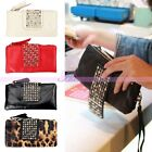 Hot Womens Ladies Rivet Stud PU Leather Clutch Handbag Coin Purse Wallet Bag
