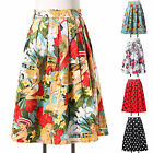 High Waisted Vintage Swing Dancing A-line Pleated Party 40s 50s Rockabilly Skirt