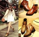 Womens Genuine Leather Pointed Toe Studded Punk Chunky Heel Ankle Boots Shoes