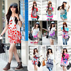Plus Size Women Lady Summer Casual Loose Floral Printed Long T Shirt Mini Dress