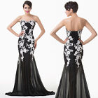 New Black White Applique Long Bridal Mermaid Ball Gown Prom Formal Evening Dress