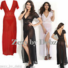 Long Lace Nightdress Gown Black Red White Soft Elegant Flattering Size 16-18