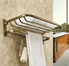 Antique Brass Bathroom Active Folding Towel Rack Bath Towel Holder with Hooks