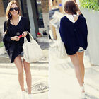 Pullover Womens Batwing Sleeve Loose Sweaters Jumpers Knitwear Tops Ponchos E