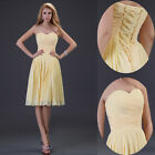 Stock Yellow Pleated Homecoming Bridesmaid Cocktail Party Prom Evening Dress Hot