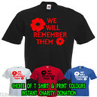 POPPY APPEAL BRITISH LEGION  MENS FIT T SHIRT  WE WILL REMEMBER THEM MILITARY