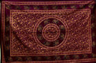 Wine DOUBLE GOLDEN ELEPHANT Mandala THROW Sofa BEDSPREAD Wall hanging INDIAN