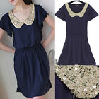 Vintage Crochet Sparkle Sequin Neck Navy Mini Dress SZ XS-S AU SELLER dr072