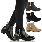 WOMENS LADIES CHELSEA ANKLE BOOTS FLAT LOW BLOCK HEEL GOLD TASSEL RIDING SHOES