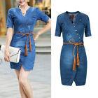 Summer Fashion Party V Neck Womens Girl Thin short sleeve Denim Dress