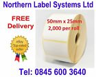 50mm x 25mm WHITE Direct Thermal Labels 2,000 per roll for Zebra type printer