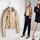 LEFTIES ( ZARA GROUP ) NEW COLLECTION 2014. GOLD FAUX LEATHER BIKER JACKET.