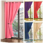Ring Top Eyelet Plain Colour Dyed Black Out Thermal Curtains Kids Chicldren's