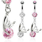 Surgical Steel Butterfly Wing with CZ Dangle Belly Curved Barbell Navel Ring 16G