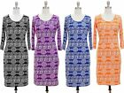 NWT Women 3/4 Sleeves Scoop Neck Bodycon Fitted Dress Southwestern Print