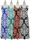 NWT Women Maxi Sleeveless Scoop Neckline Basic Knit Dress Damask Print S-L