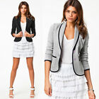 Hot Solid Fashion Casual Suit Blazer Jacket Coat Single Button Work Basic Womens