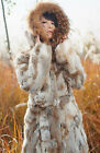 Winter Women Real 100% Rabbit Raccoon Trim Fur Coat Jacket Overcoat Garment Hood