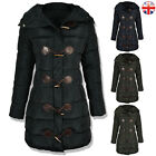 WOMENS LADIES LONG QUILTED WINTER COAT PUFFER COLLAR HOODED JACKET PARKA ZIP UP