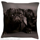 Black Pug Family Cushion -  Add your own text choice | Gift | Cute dog