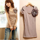 Women Lady Short Sleeve Crew Neck Cotton Floral Print Slim Fit T-Shirt Tops Tee
