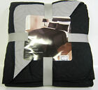 COUNTRY CLUB REVERSIBLE DOUBLE/KING SIZE BED SPREAD & 2 PILLOW SHAMS - BLACK