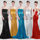 Sequins Long Bodycon Mermaid Bridesmaid Gowns Cocktail Evening Prom Debut Dress