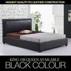 New Black King Queen Size PU BiCast Leather Deluxe Bed Frame Bedroom Furniture