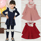 Kids Toddler Girls Christmas Clothes Cotton Lace Long Sleeve TuTu Dresses Skirt